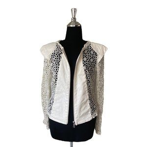 Alexis White Lace Double Zipper Jacket Size Small
